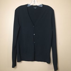 Theory Black Cardigan Button Down Side Slits Large